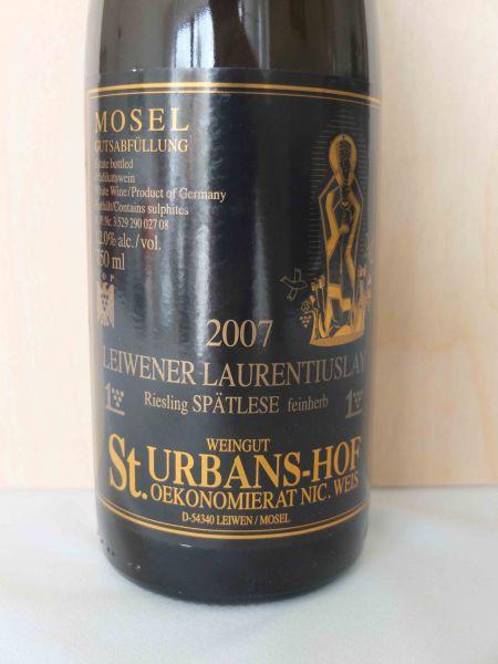 St. Urbans-Hof Leiwener Laurentiuslay Riesling Spätlese Feinherb 2007